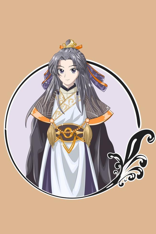 un apuesto joven emperador maestro del antiguo reino ilustración vectorial vector