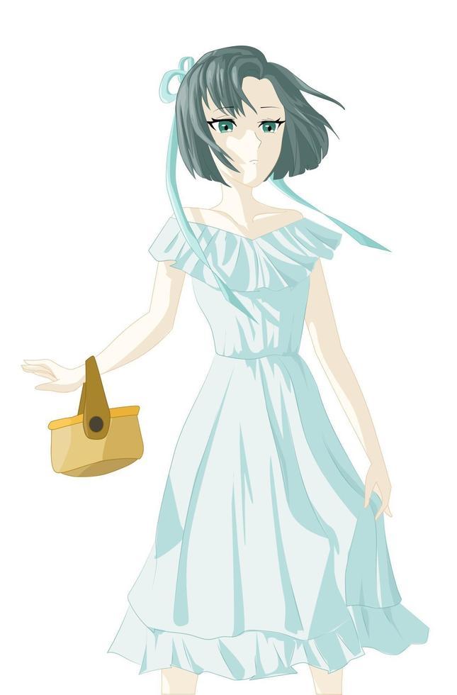 Chica arrogante, con vestido blanco azul, llevando una bolsa, con cabello corto azul oscuro vector