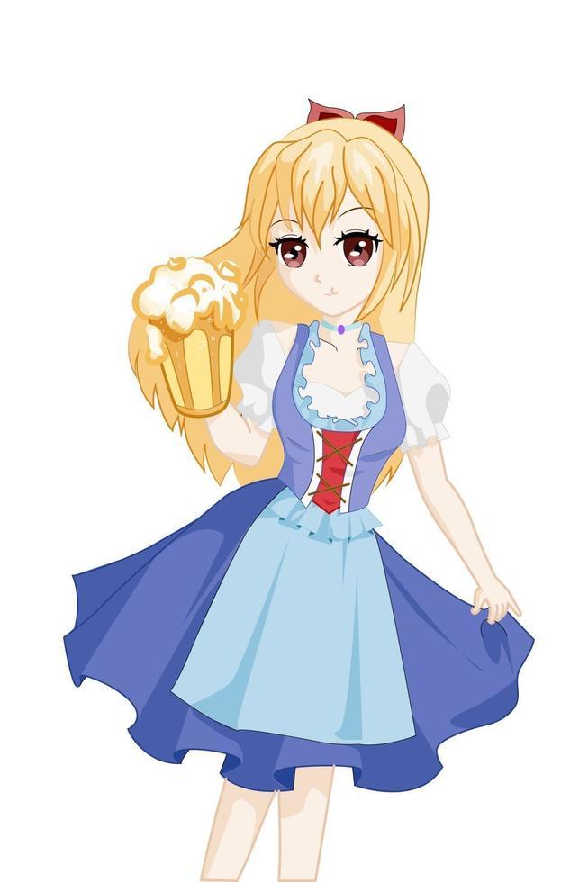 chica anime con cabello largo amarillo en traje de oktoberfest sosteniendo cerveza vector