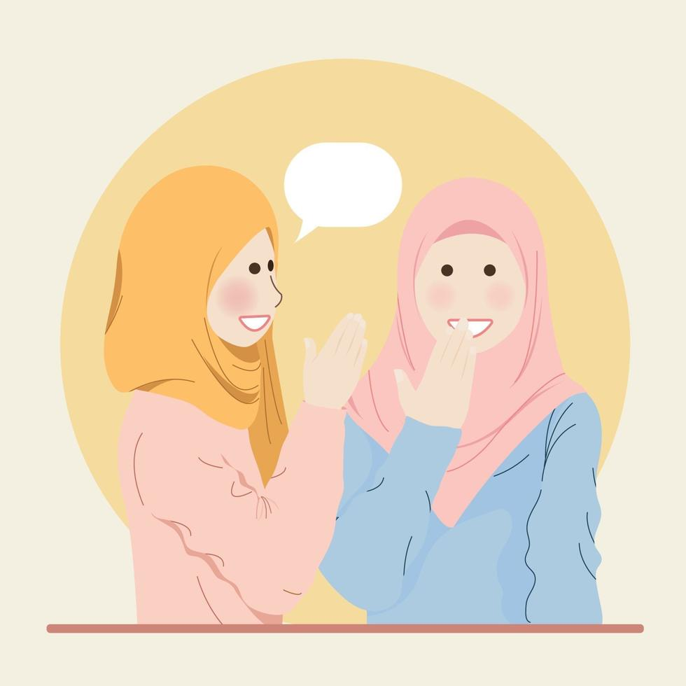 Cute Hijab Muslim Girls Chatting Whispering and Gossiping to each other vector