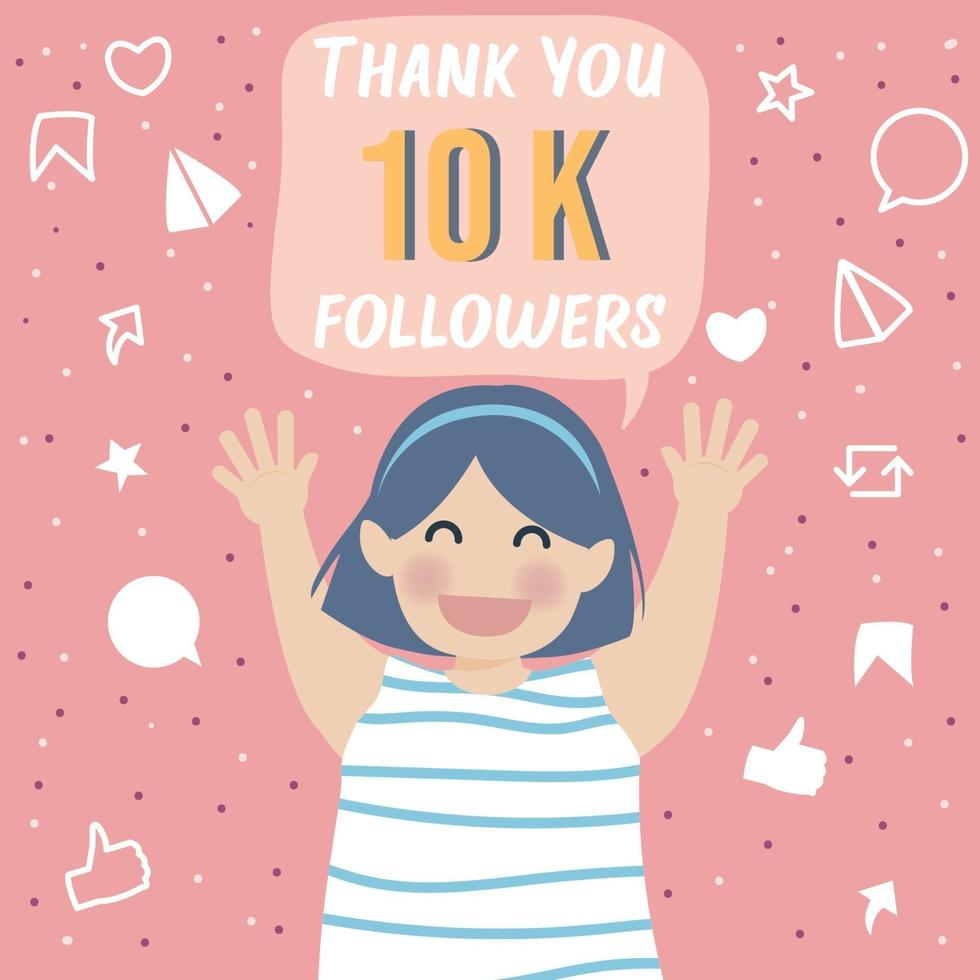 Cheerful and Grateful Cute Girl Celebrating Thank you 10k followers vector