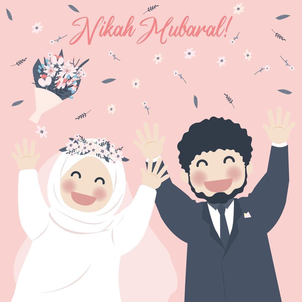 linda pareja musulmana celebra nikah, saludo de nikah mubarak vector