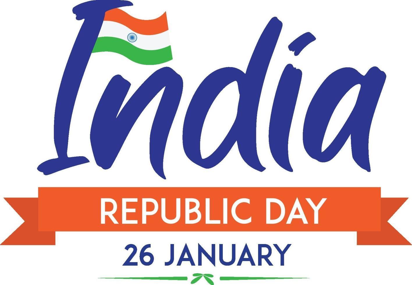cartel del día de la república de india el 26 de enero con bandera vector