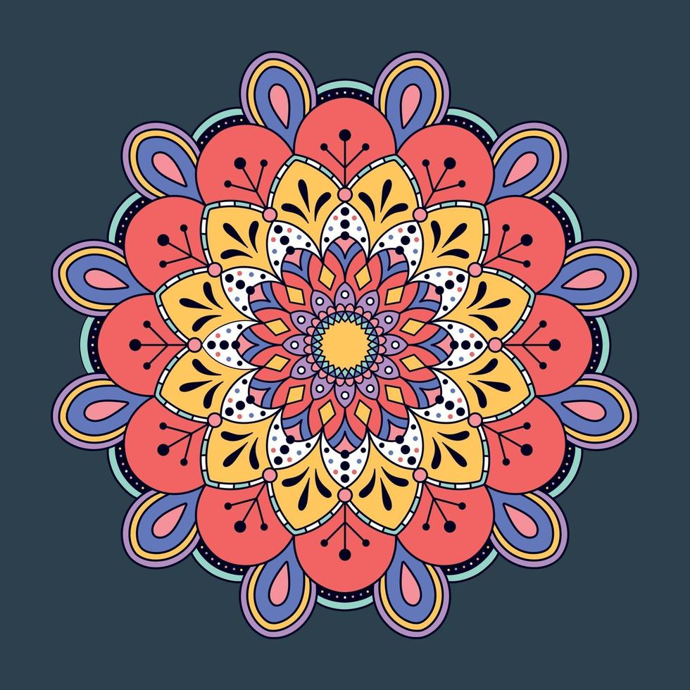 Fondo de mandala colorido dibujado a mano. vector
