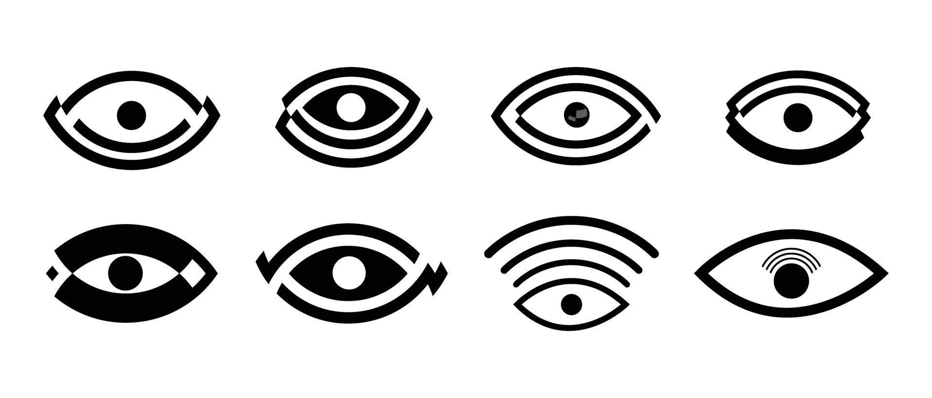 conjunto de iconos de ocho ojos vector