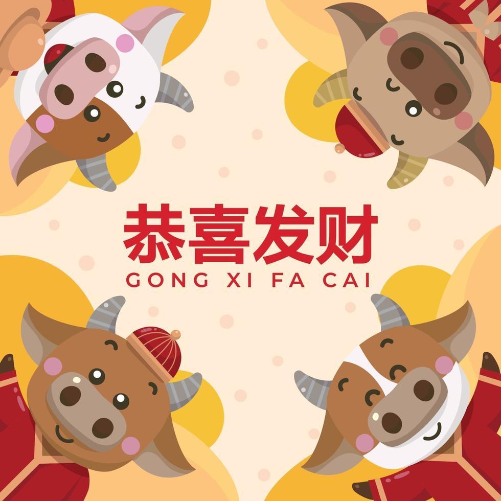 saludo de año nuevo chino con 4 pequeños bueyes lindos vector