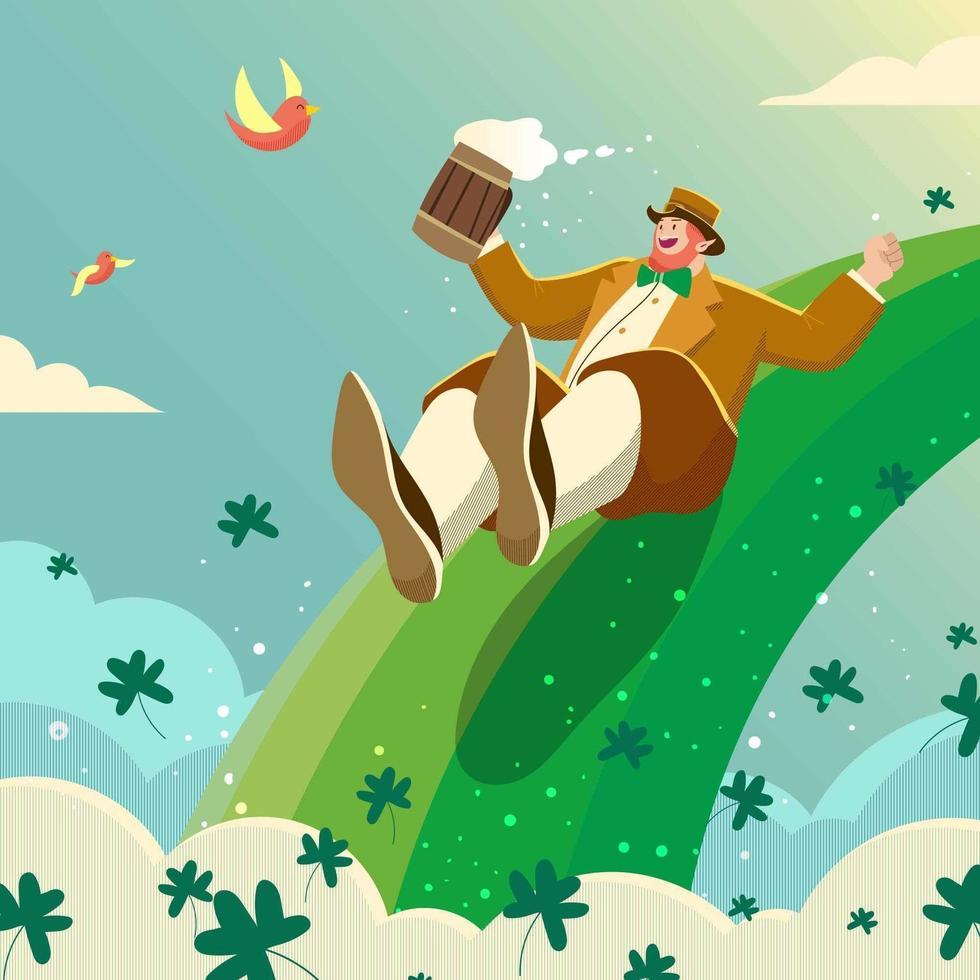 Happy Leprechaun Cartoon Character vector
