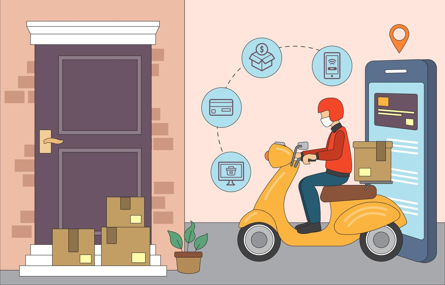 utilizar las compras en línea durante la pandemia vector