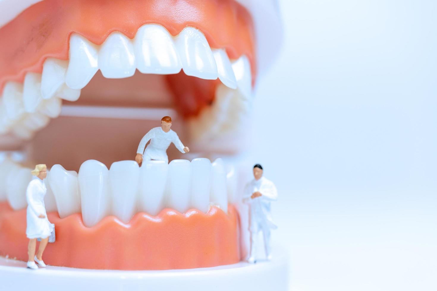 Figuras en miniatura y un modelo de boca humana. foto