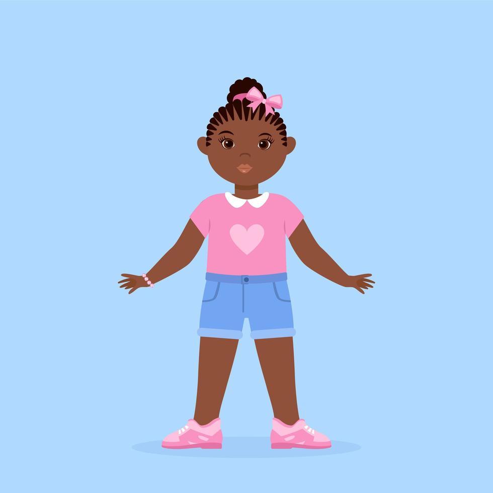 Black Little Girl Character Wearing Short Jeans vector
