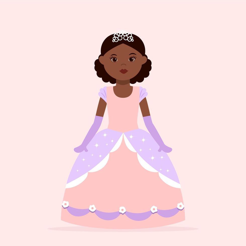 Black Girl Princess Wearing Ball Dress vector