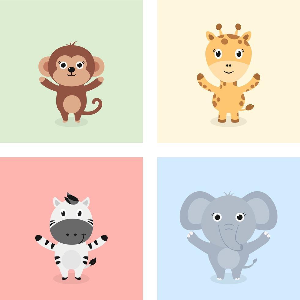 animales de la selva bebé de pie vector