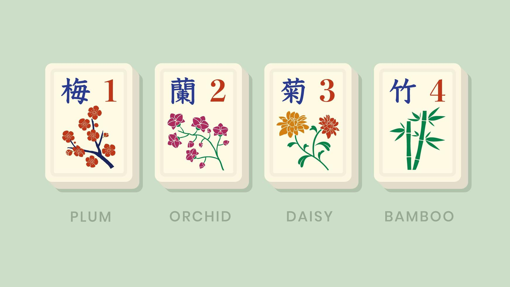 fichas de flores de bonificación de Mahjong vector