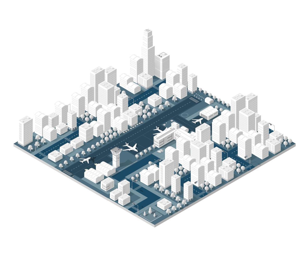 ciudad en diseño blanco vector
