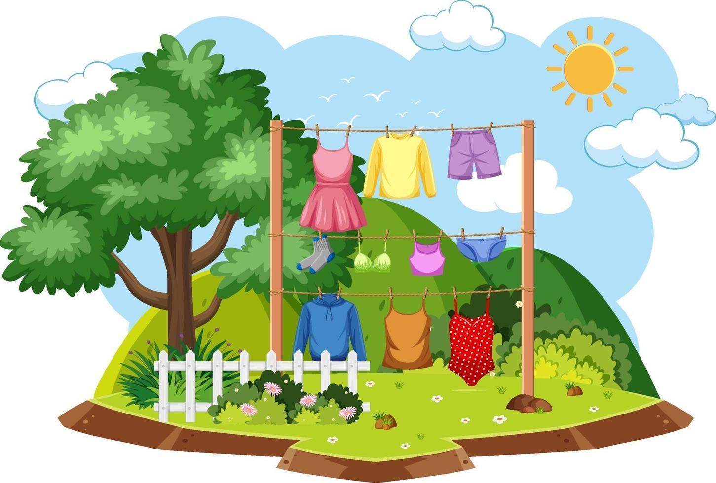 secar la ropa en la escena al aire libre vector