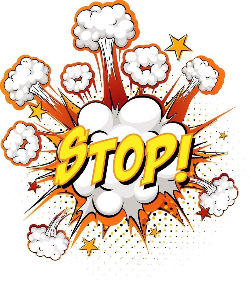 Detener el texto en la explosión de la nube cómica aislado sobre fondo blanco. vector