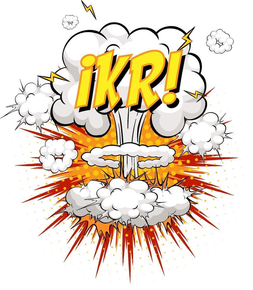 Texto ikr en explosión de nube cómica aislado sobre fondo blanco. vector