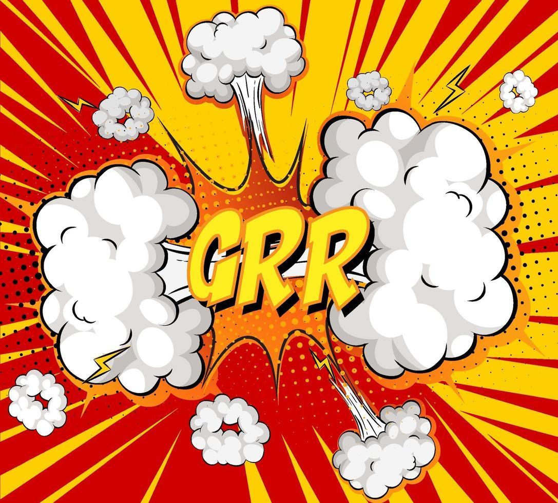 Grr texto sobre explosión de nube cómica sobre fondo de rayos vector