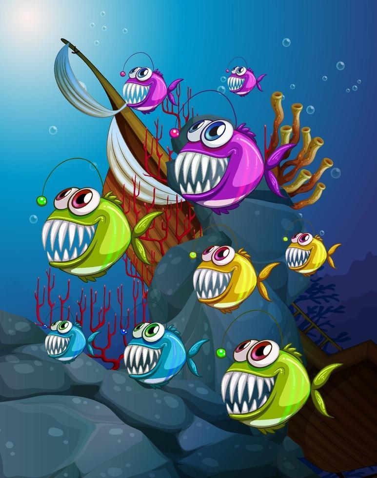 muchos personajes de dibujos animados de peces exóticos en la escena submarina con corales vector