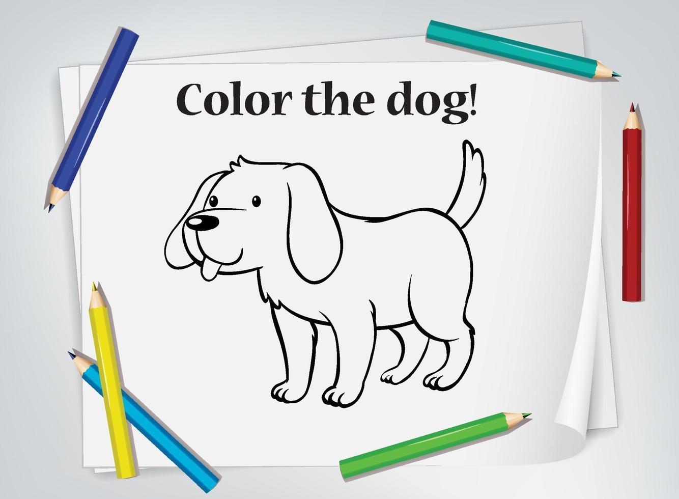 Doodle de dibujos animados de perro en papel con muchos lápices de colores vector