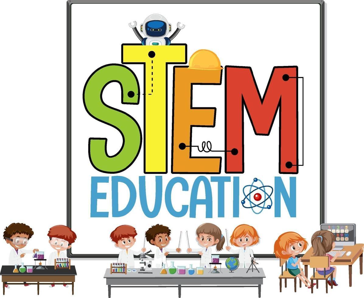 logotipo de la educación del tallo con niños vestidos con traje de científico aislado vector