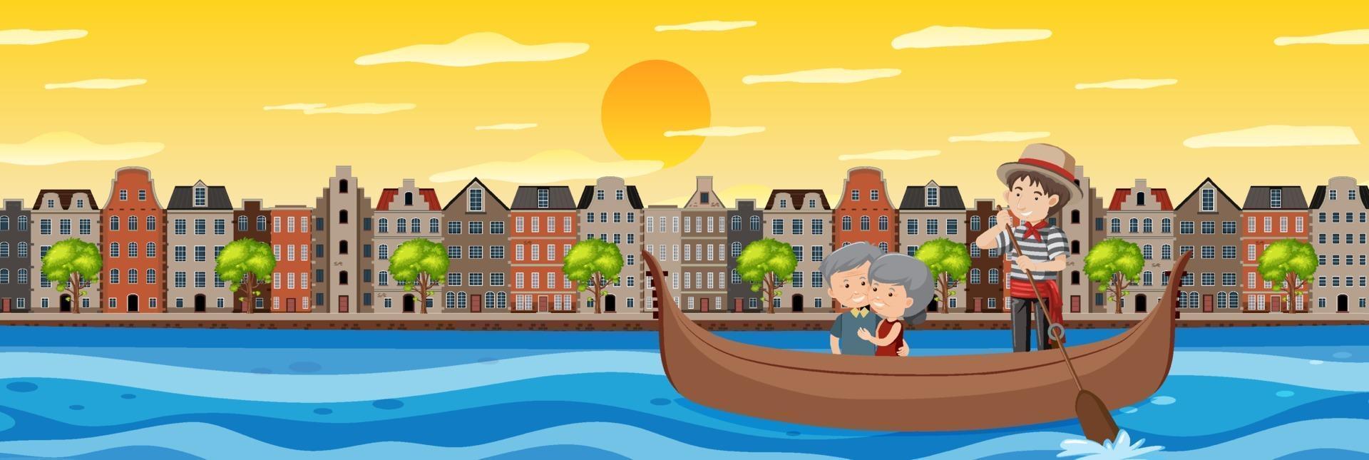 pareja de jubilados en el paseo en barco vector