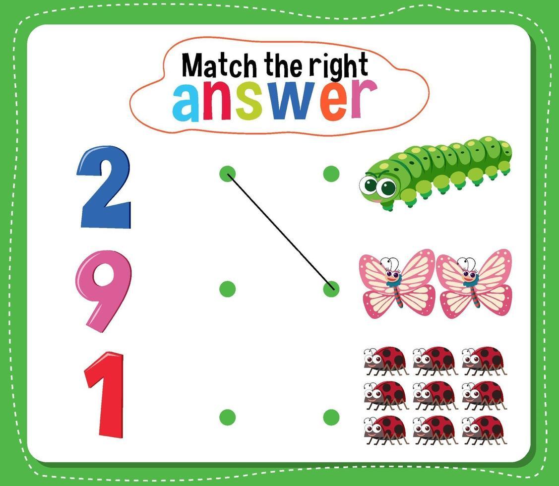 hacer coincidir la actividad de respuesta correcta para niños vector