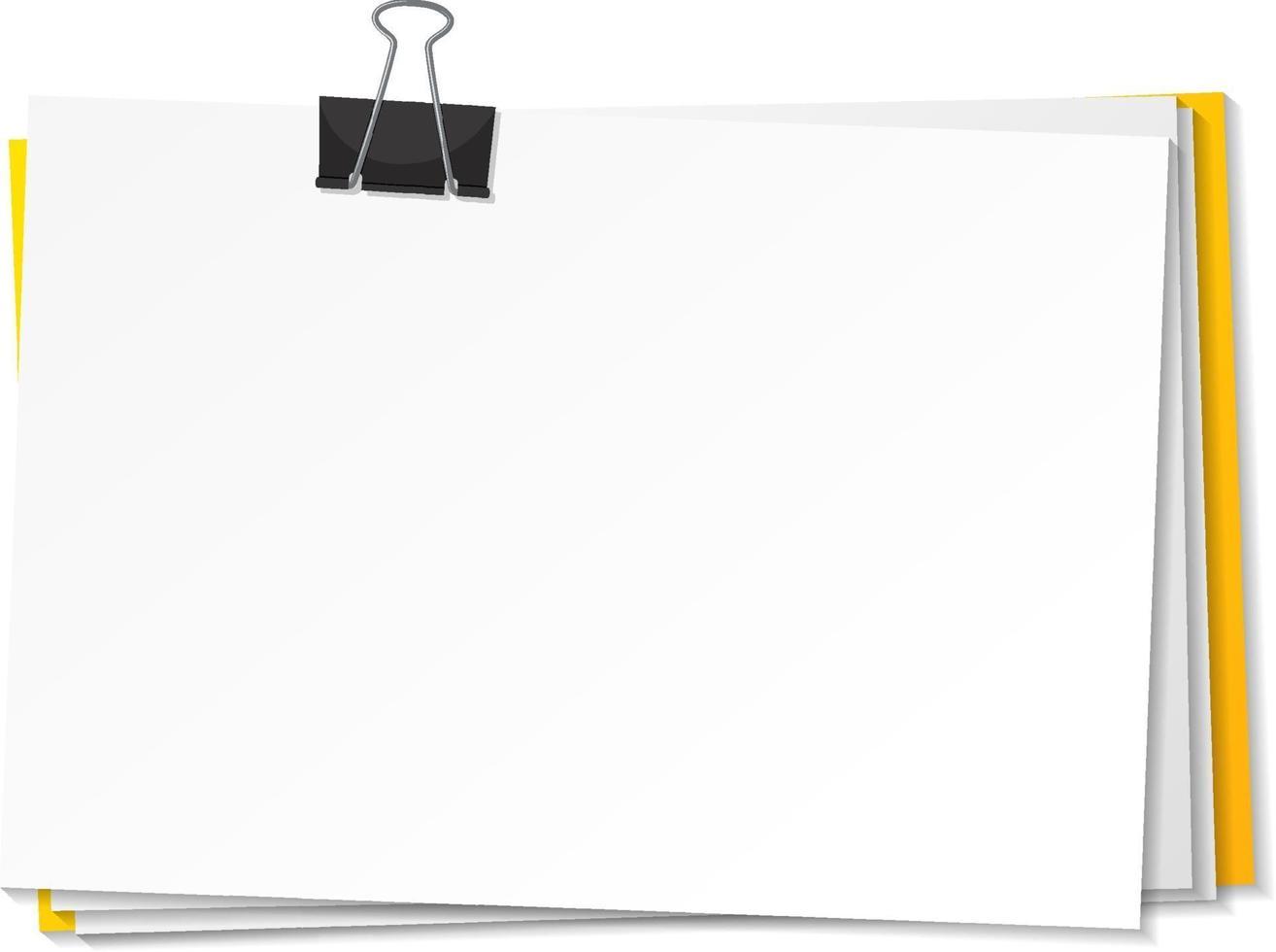 papeles en blanco y plantilla de clip de carpeta vector