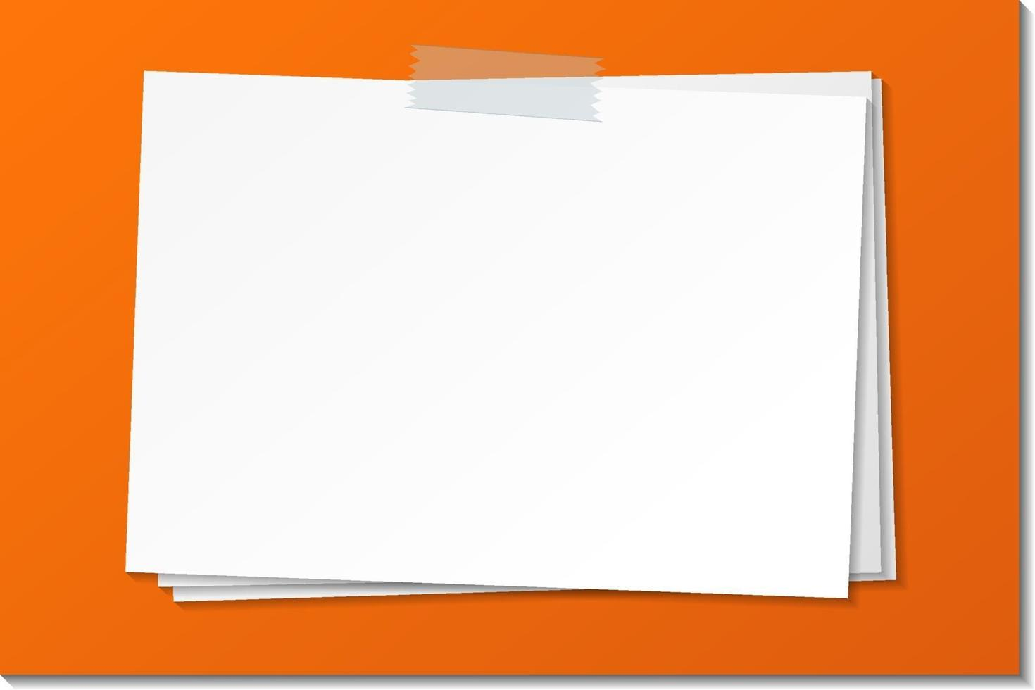 Empty paper note template stick with tape vector