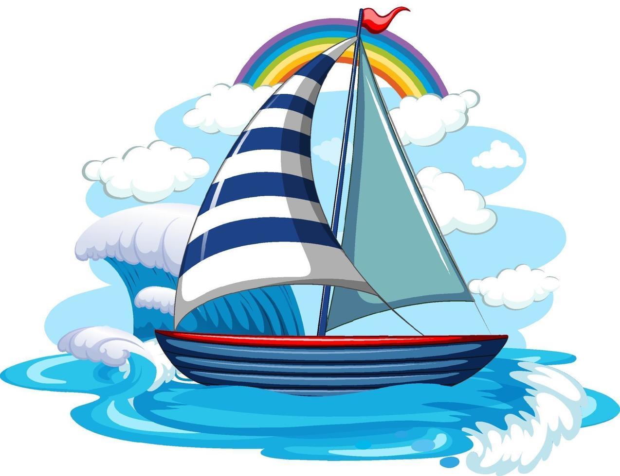Un velero sobre las olas del agua aislado sobre fondo blanco. vector