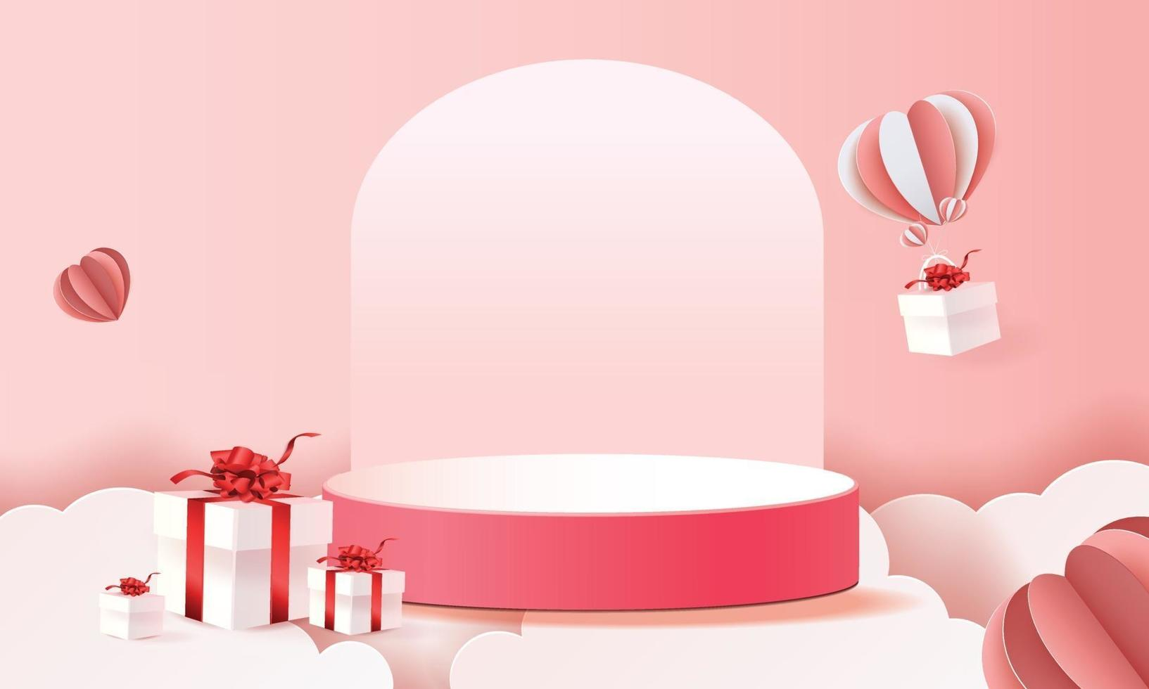 3d paper art podium in clouds for valentine's with hearts and gifts vector