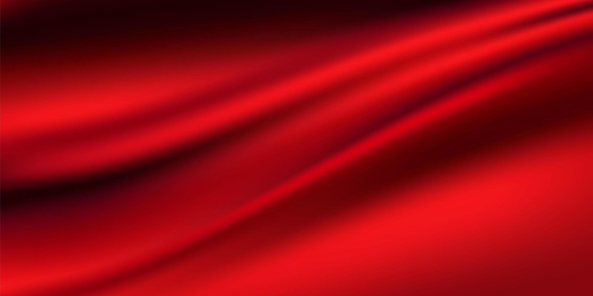 degradados abstractos, fondo de plantilla de banner de ondas rojas de tela. vector