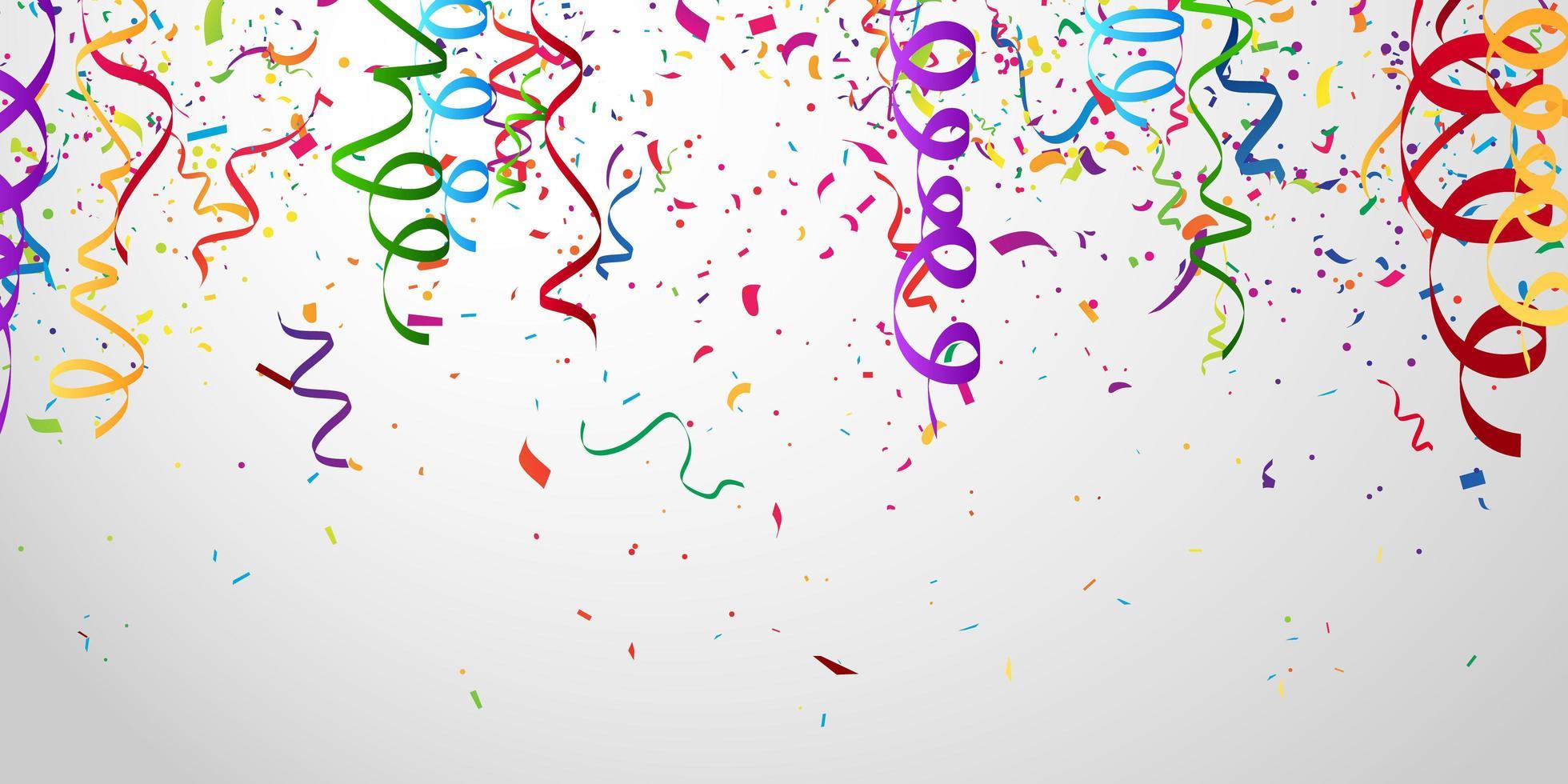 confeti y cintas de colores. plantilla de fondo de celebración vector