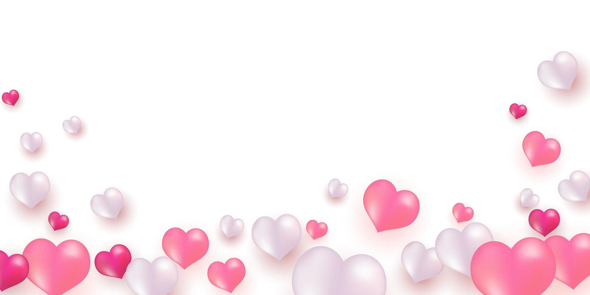 globos blancos rosados, plantilla de diseño de concepto de confeti dorado para el día de san valentín vector