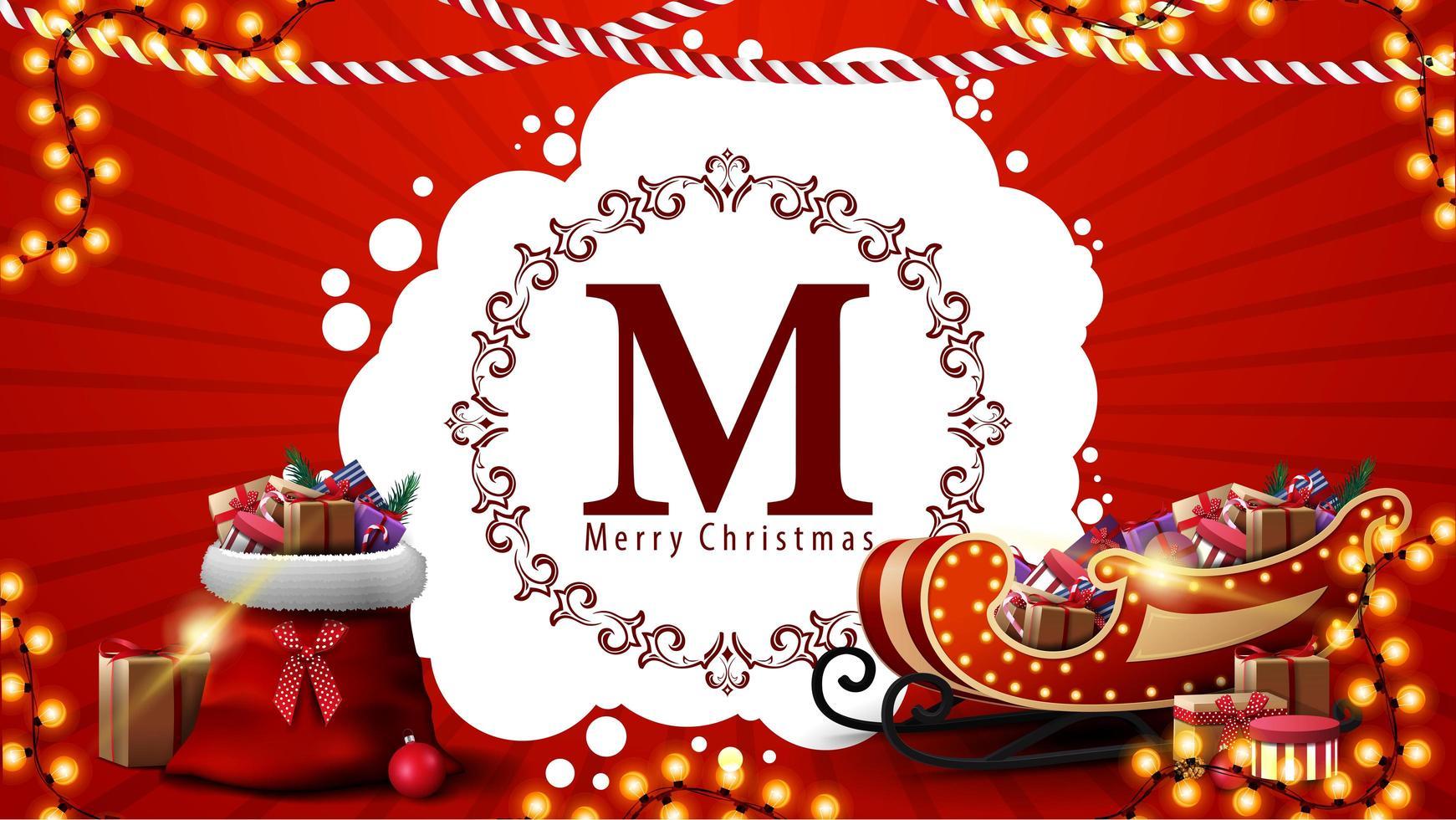 feliz navidad, postal roja con logo de saludo redondo, guirnaldas, bolso de santa claus y trineo de santa con regalos vector