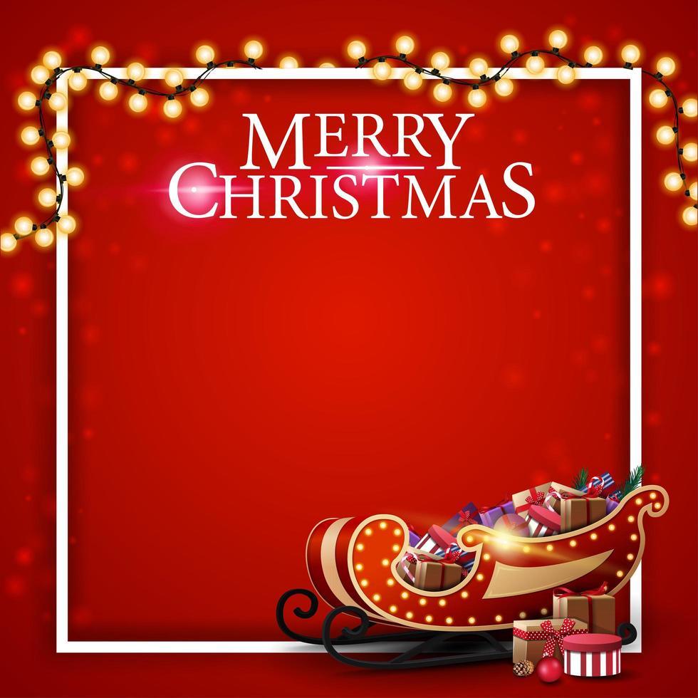 Feliz Navidad, plantilla roja cuadrada para postal con lugar para el texto, marco, guirnalda y trineo de santa con regalos vector