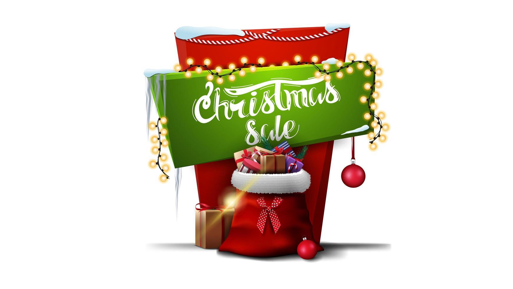 Venta de Navidad, banner de descuento vertical rojo y verde para su creatividad en estilo de dibujos animados con guirnaldas, hermosas letras y bolsa de santa claus con regalos vector