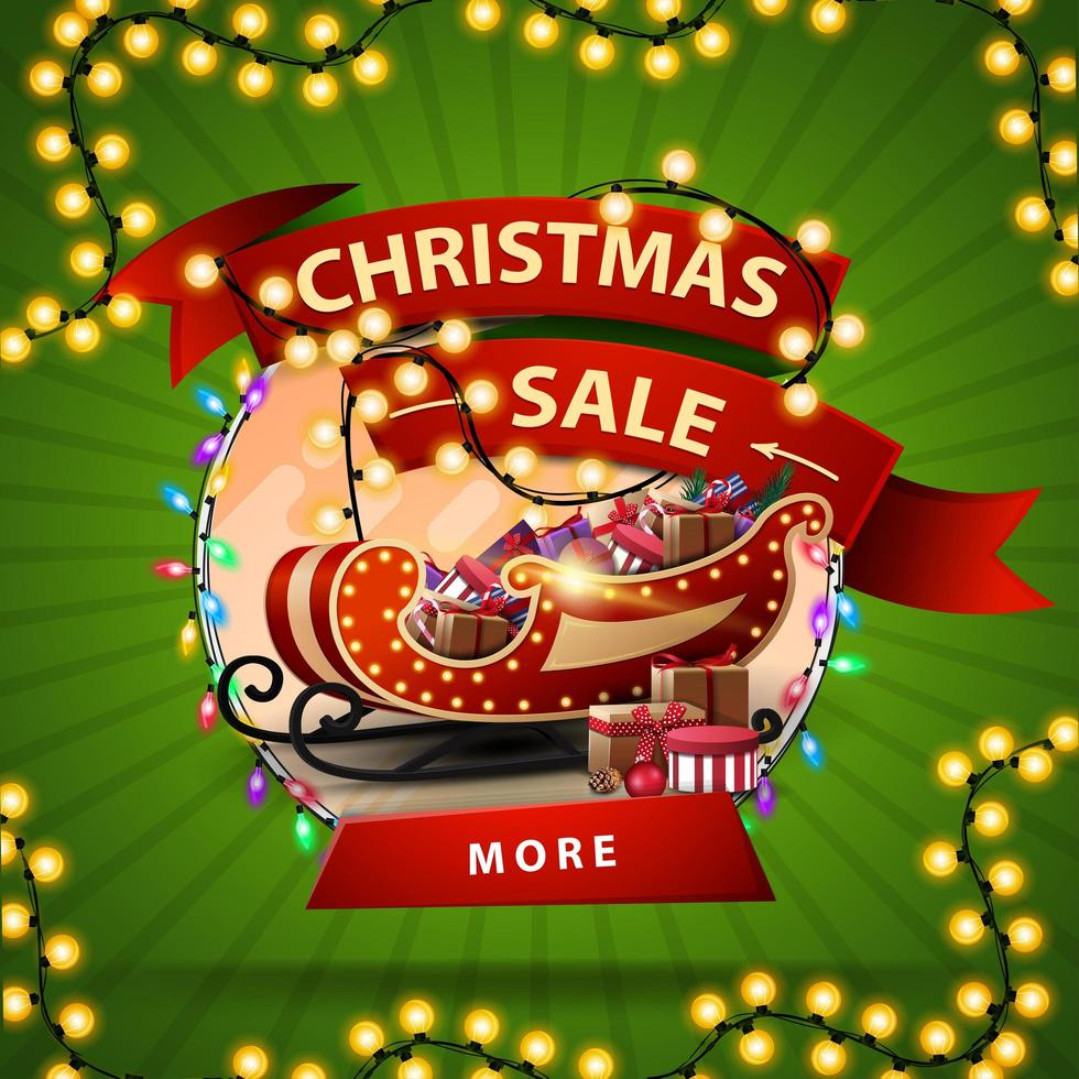 Christmas sale, round discount banner with a ribbon wrapped in a garland, button and Santa Sleigh with presents vector