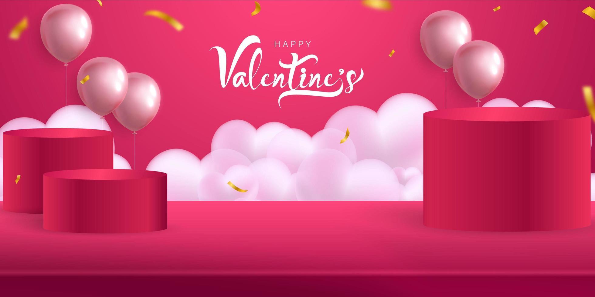 día de san valentín, plantilla de maqueta de banner con podios y globos vector