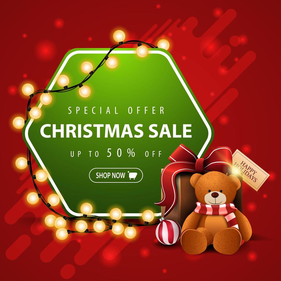Special offer, Christmas sale, up to 50 off, square red and green banner with garland, hexagon with offer and present with Teddy bear vector