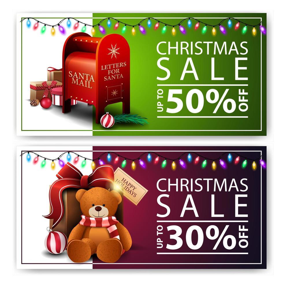 dos pancartas navideñas de descuento con buzón de santa y regalo con osito de peluche. banners de descuento verde y morado vector