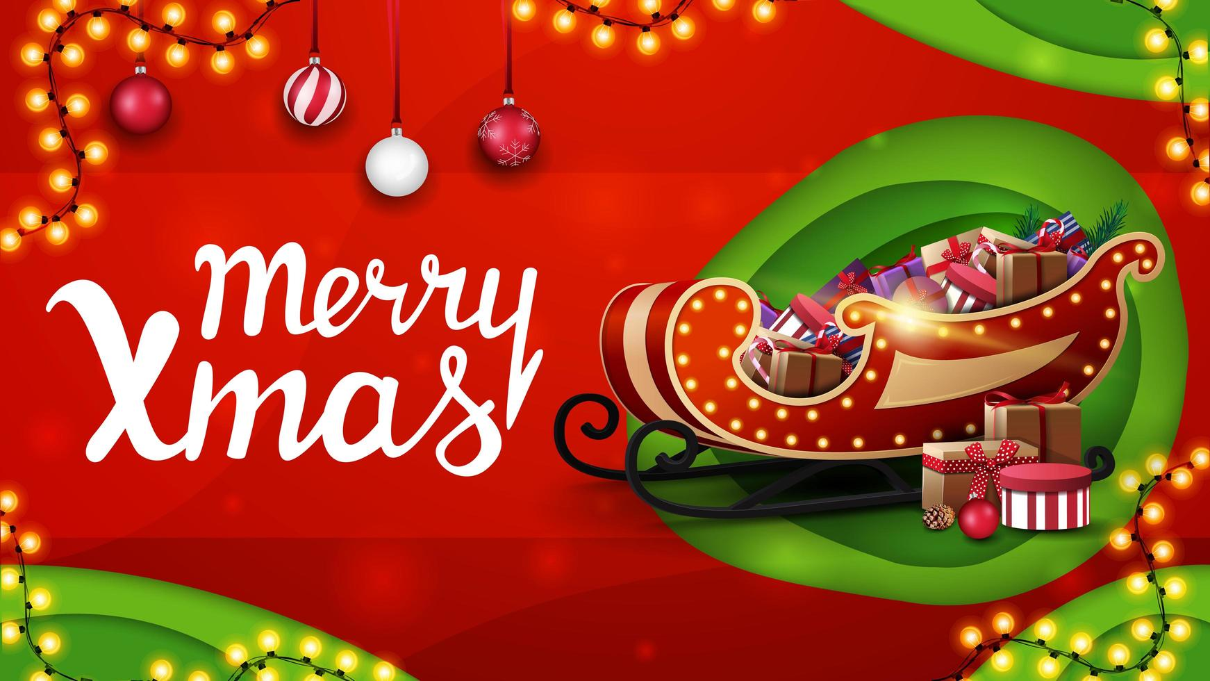 Merry Christmas, red and green discount banner in paper cut style with garlands, Christmas balls and Santa Sleigh with presents vector