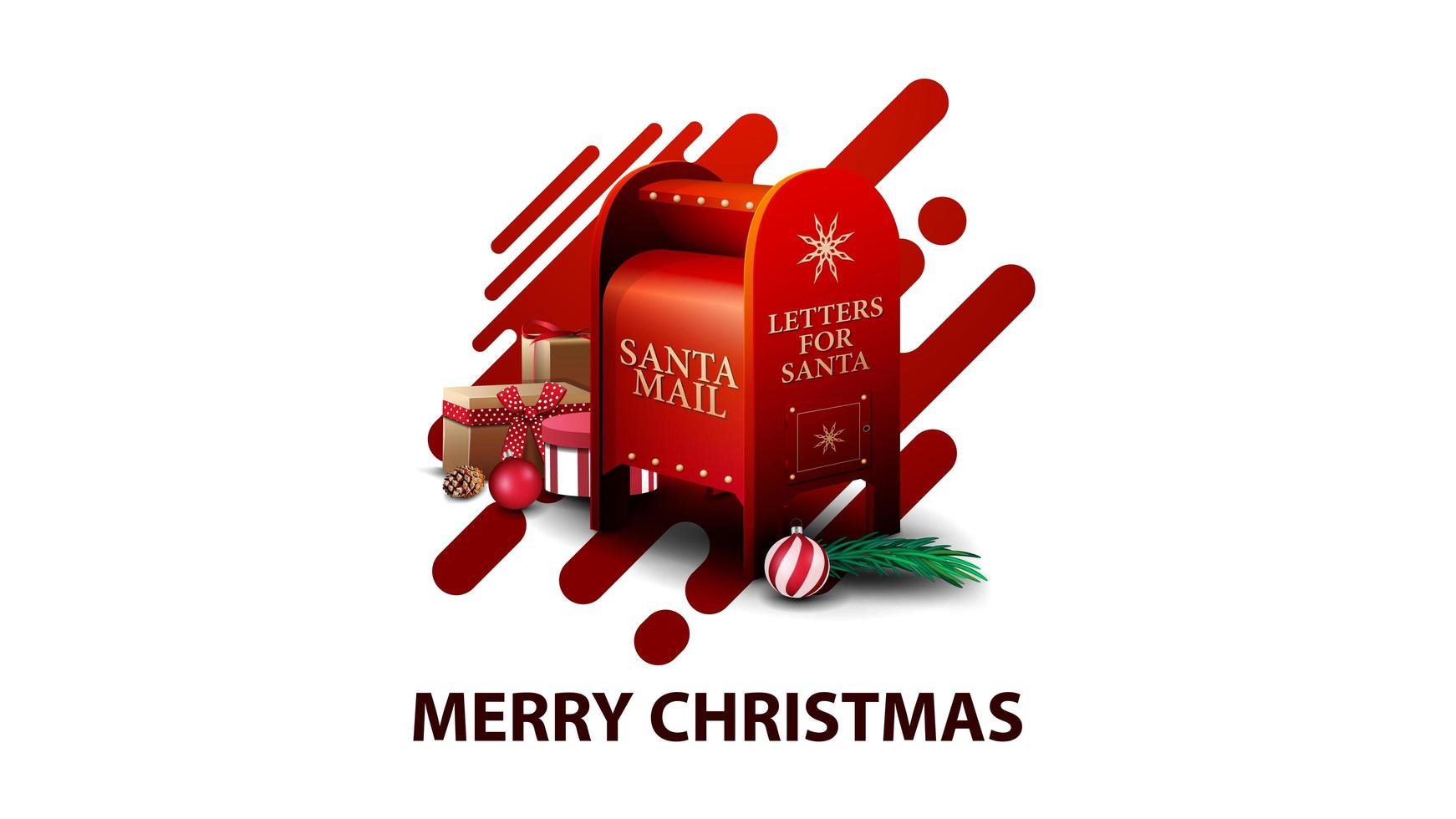 Merry Christmas, white modern postcard with red abstract liquid shapes and Santa letterbox with presents vector