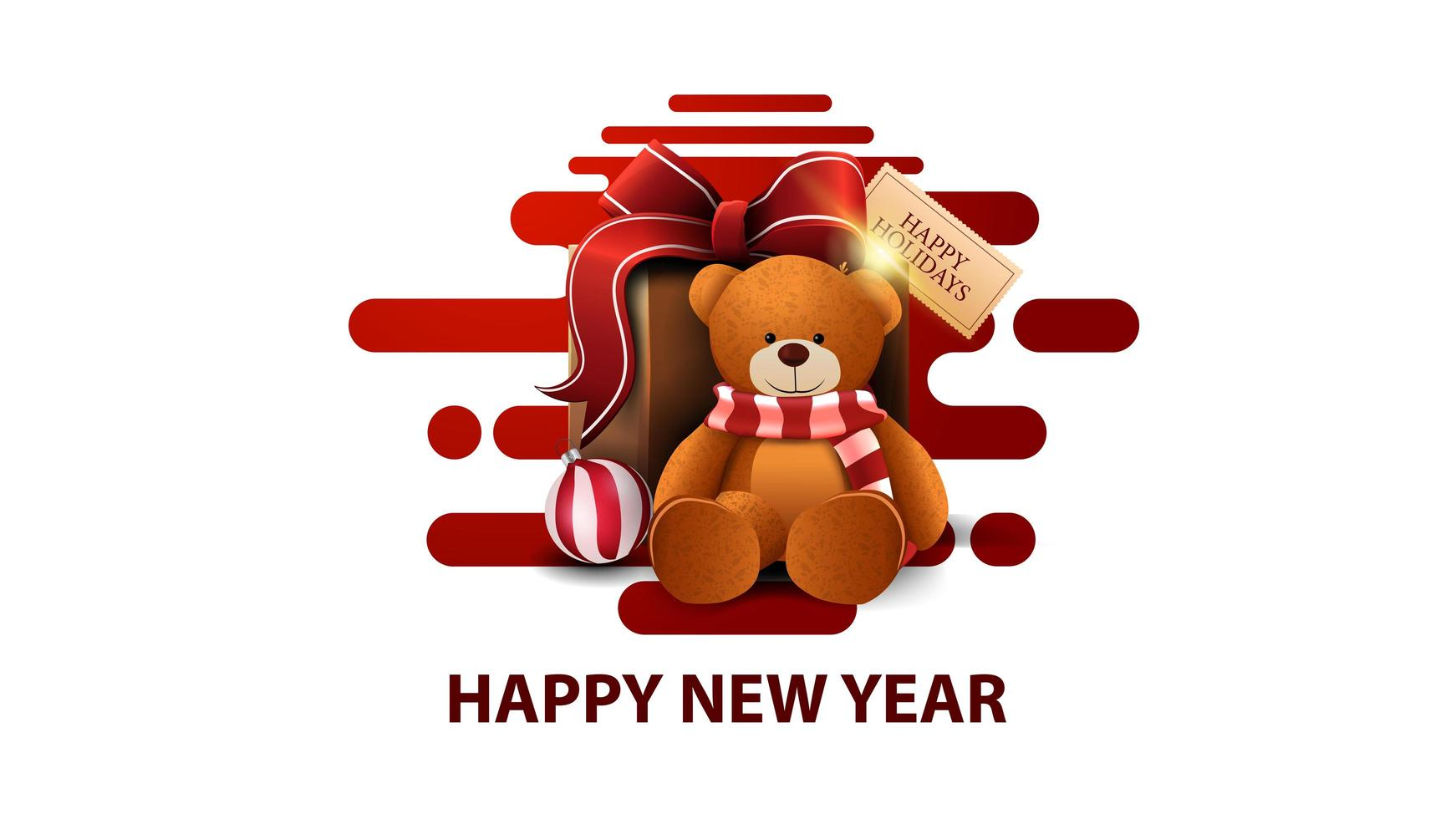 Feliz año nuevo, postal moderna blanca con formas líquidas abstractas rojas y presente con osito de peluche vector