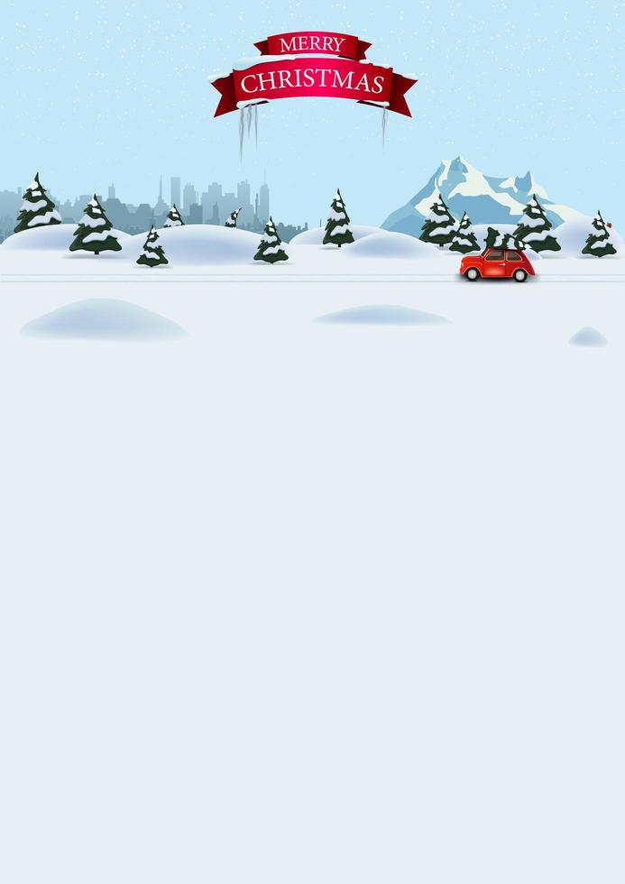 Christmas vertical template for postcard or discount with pine winter forest, silhouette city, snowy mountain and red vintage car carrying Christmas tree vector