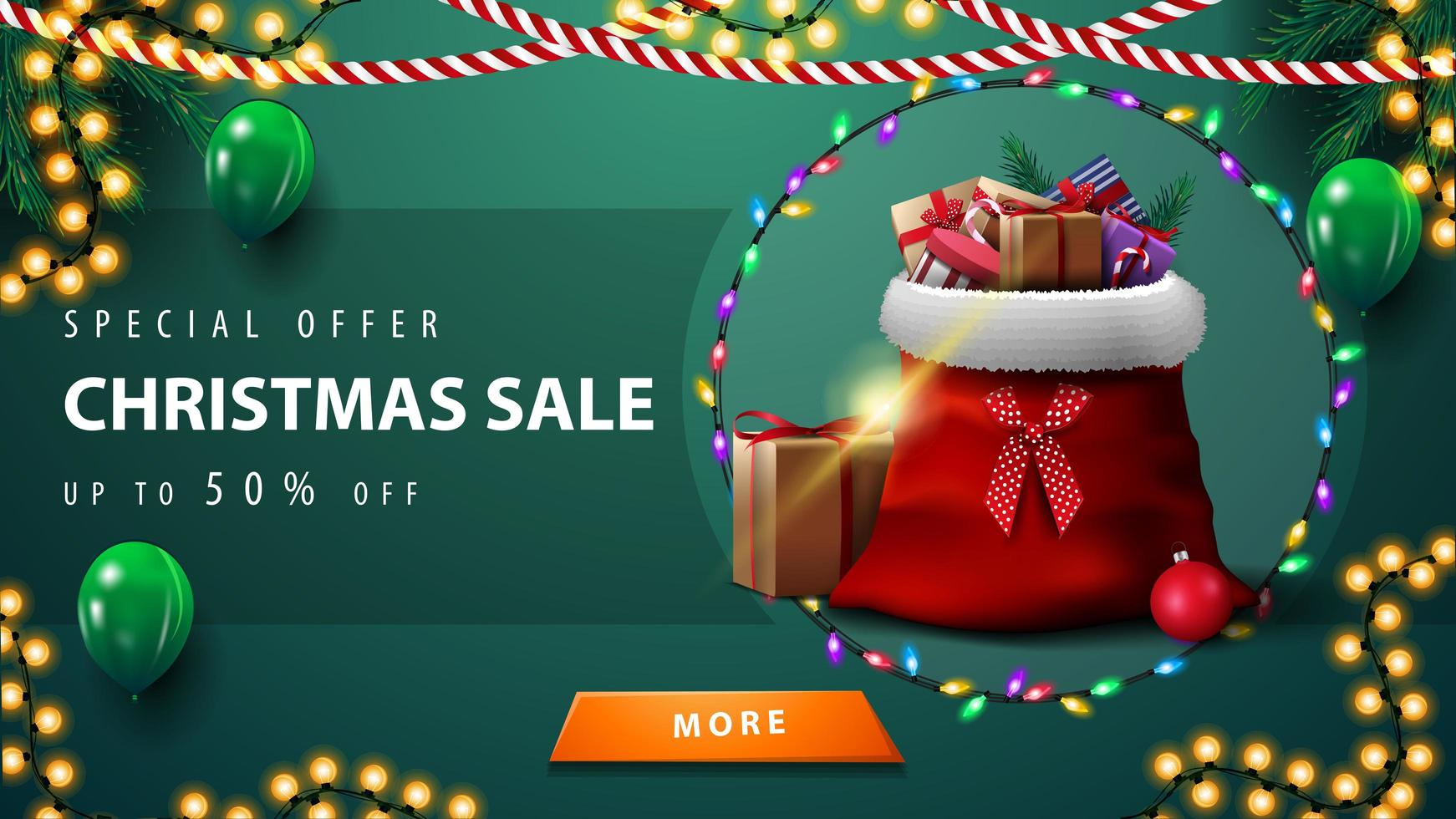 Special offer, Christmas sale, up to 50 off, green discount banner with garlands, green balloons, button and Santa Claus bag with presents vector