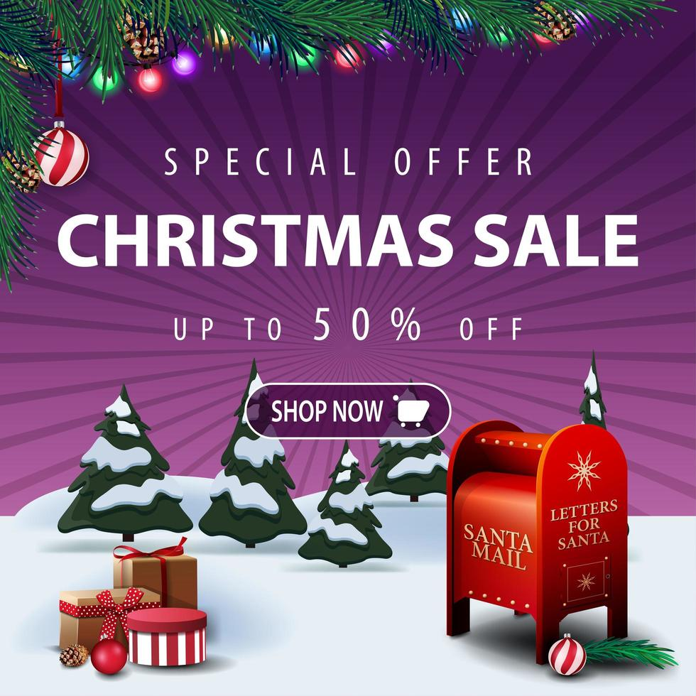 Special offer, Christmas sale, up to 50 off, square purple discount banner with cartoon winter landscape, presents and Santa letterbox vector