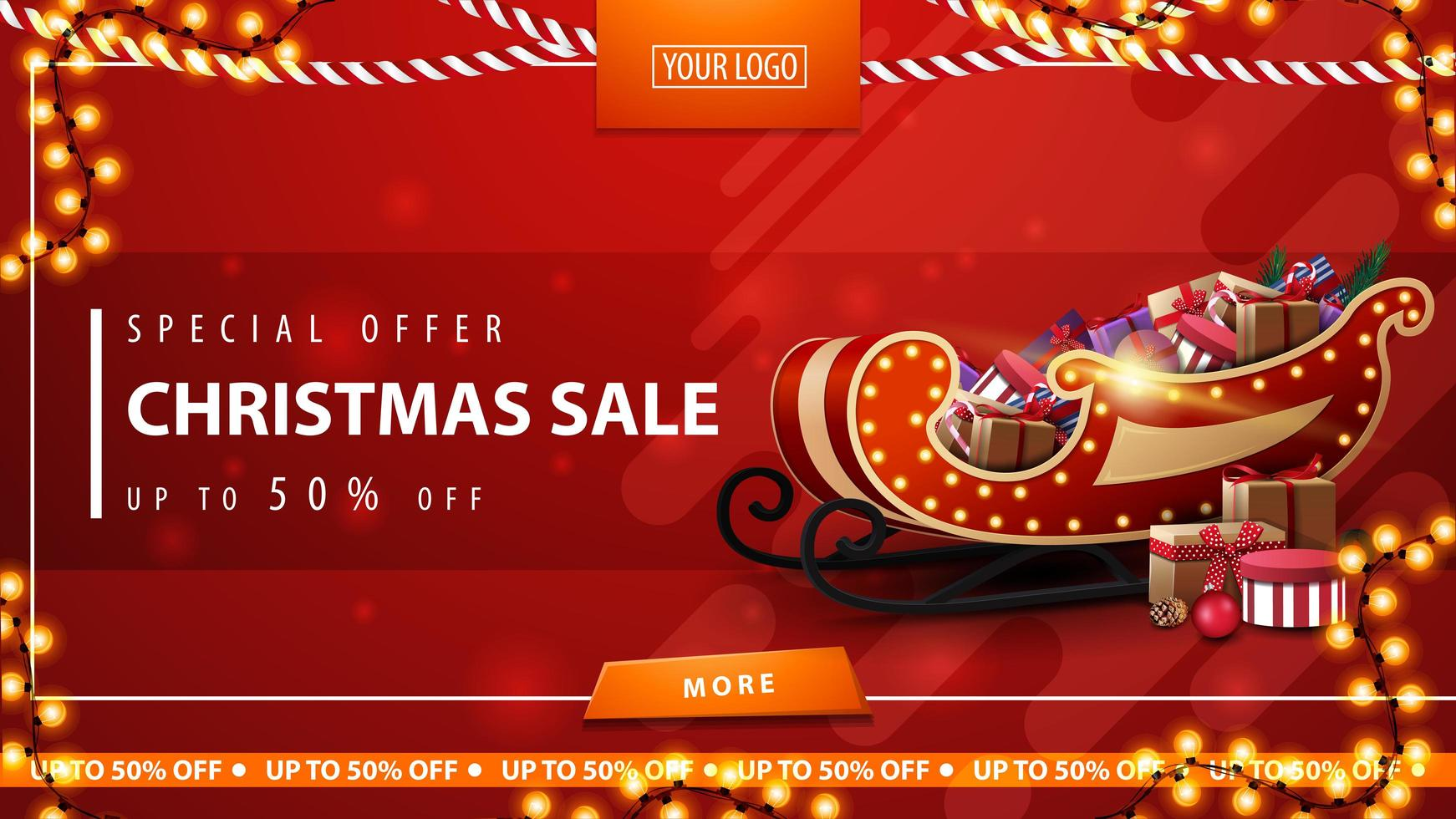 Special offer, Christmas sale, up to 50 off, red discount banner with garlands, button, place for logo and Santa Sleigh with presents vector