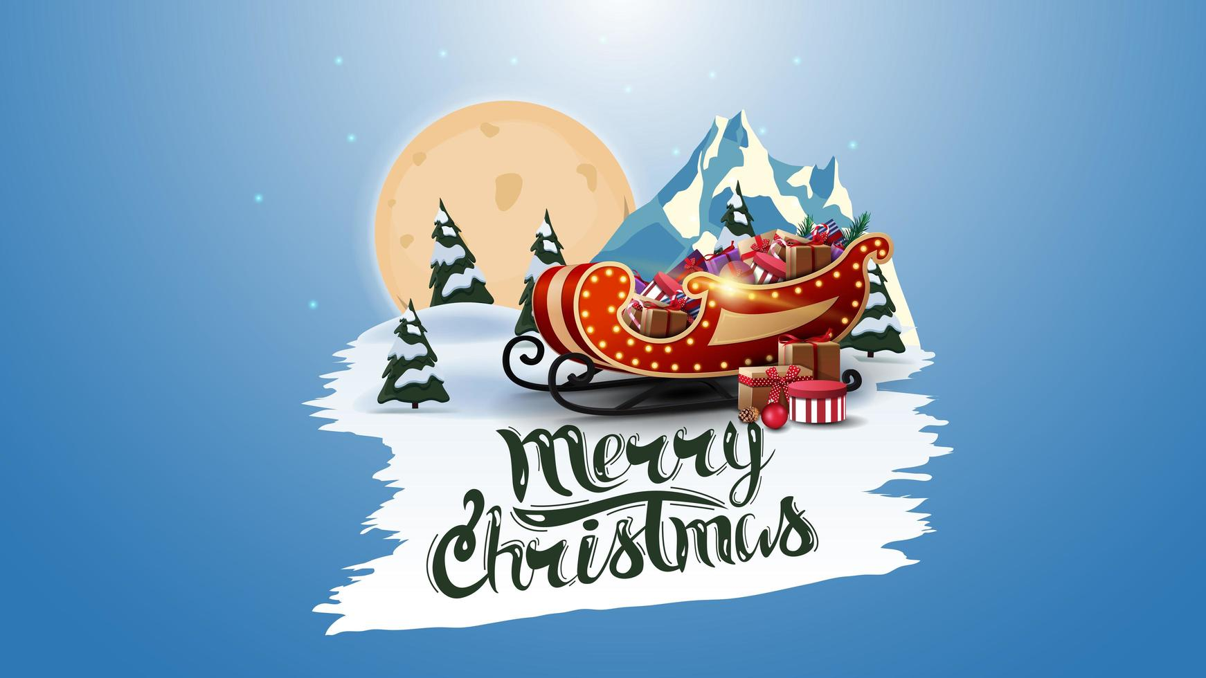 Mmerry Christmas, postcard with big full moon, pines forest, mountain and Santa Sleigh with presents. White torn banner vector