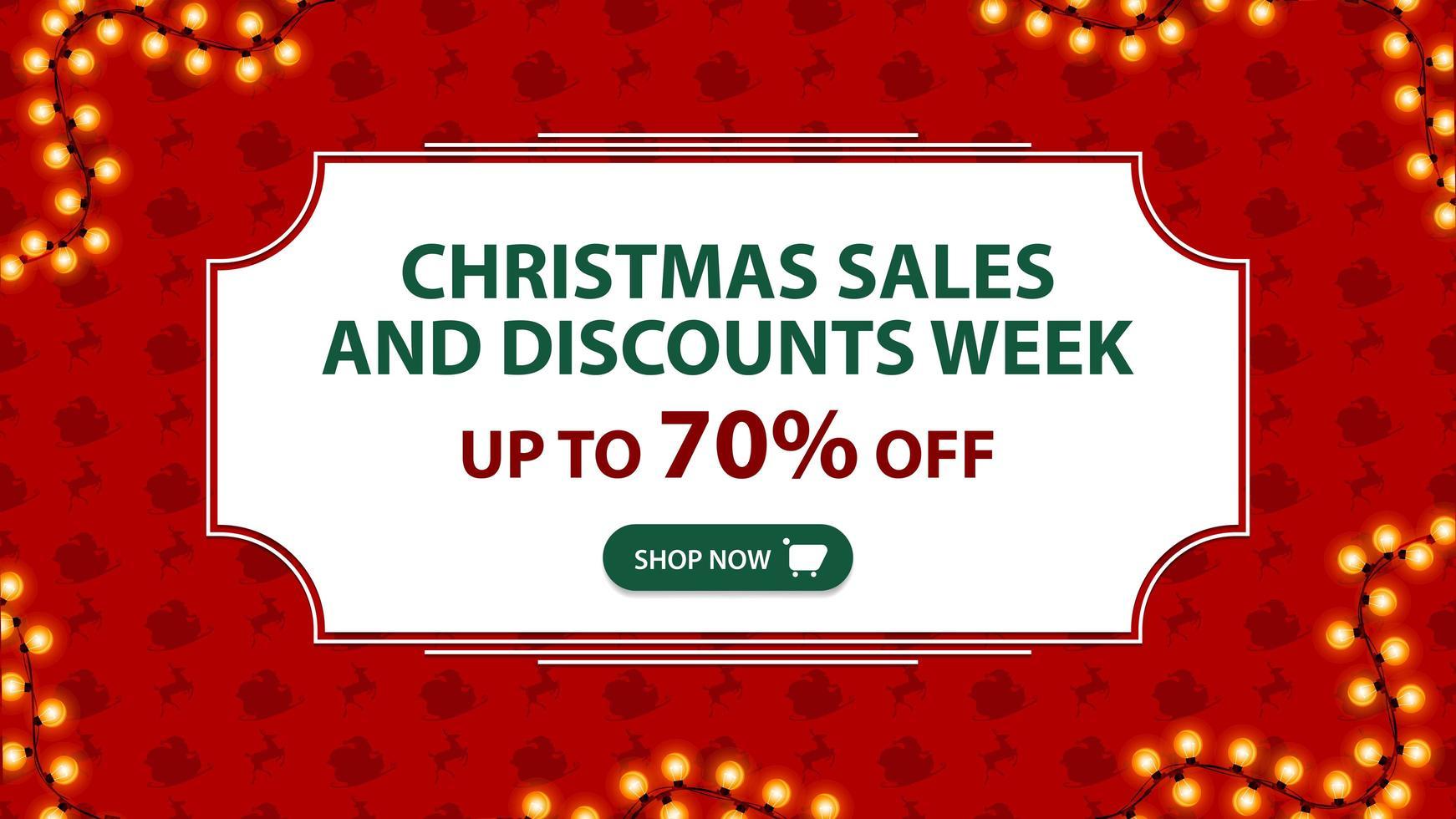 Ventas navideñas y semana de descuentos, hasta 70 de descuento, pancarta roja con marco blanco vintage y patrón con trineo de santa claus y renos vector